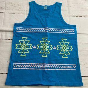 Chubbies Mens Blue Tank Top Aztec Tribal Pattern
